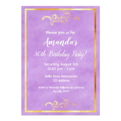 80th Birthday Party Ultra Violet Faux Gold Decor Card