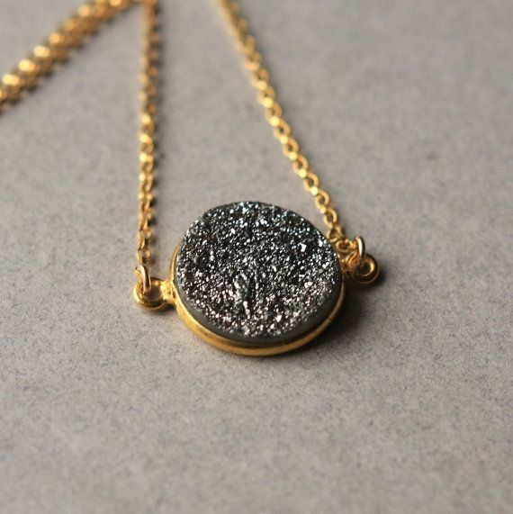 Silver druzy necklace druzy pendant necklace gold fill chain silver druzy necklace druzy pendant necklace gold by juliegarland 4000 aloadofball Images