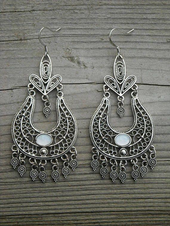 Moonstone Crystal Large Silver Chandelier Earrings Opal Gemstone Bohemian Boho Tribal Gypsy Ethnic Indian Jewelry Dangle