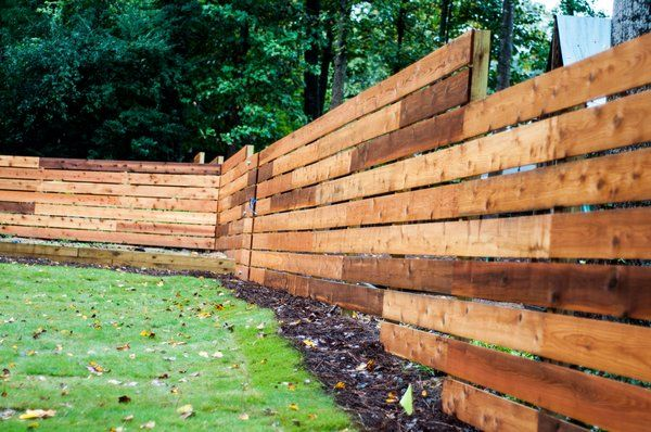Staggered Boards Cedar Horizontal Fence East Cobb That S