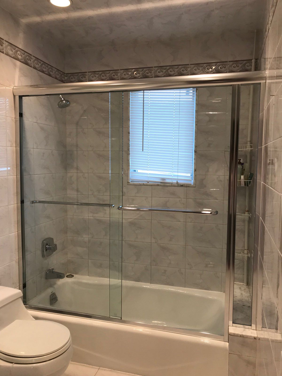 Semi Frameless Bypass Door With In Line Buttress Panel Chrome