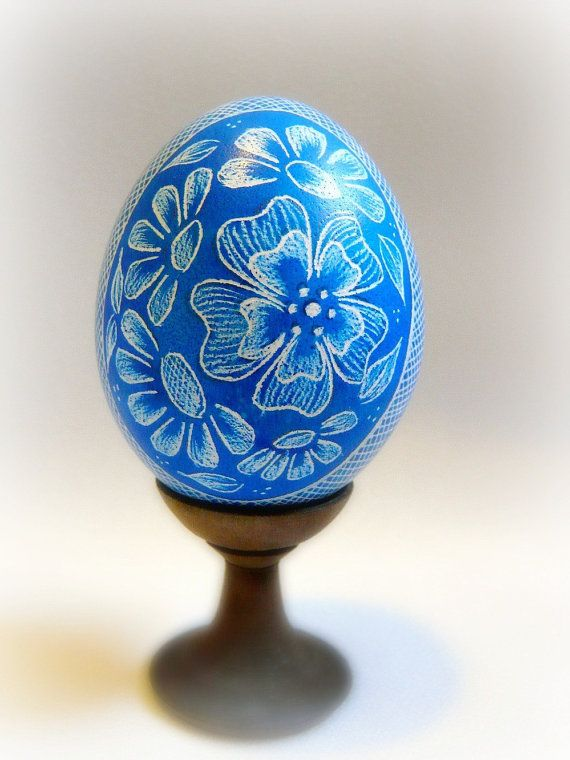 Hand Etched Lithuanian Pysanky Light Royal Blue Chicken Egg - by Christine Luschas - etsy.com