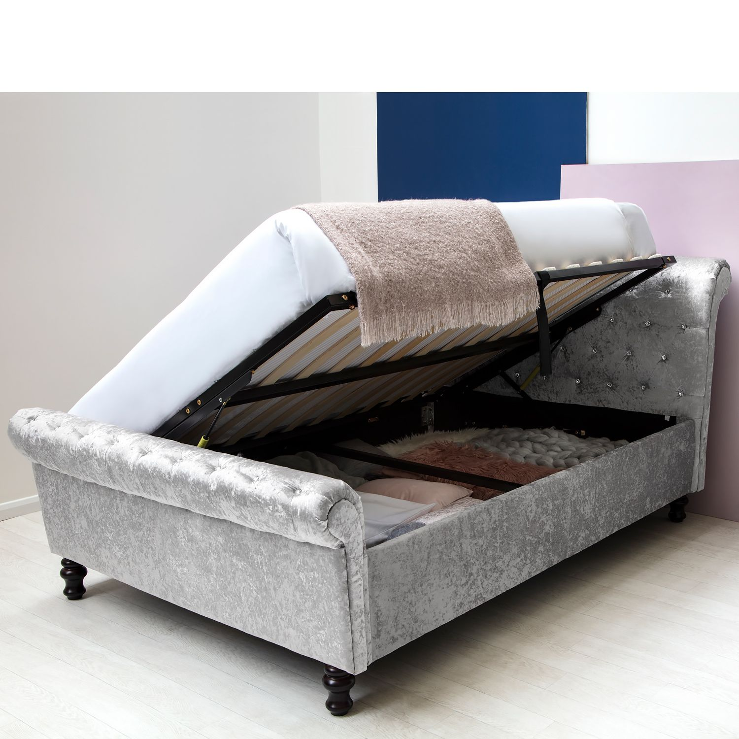 St James Silver Crushed Velvet Sleigh Ottoman Storage Bed Frame Double King Size Bed Frame With Storage Ottoman Storage Bed Upholstered Bed Frame