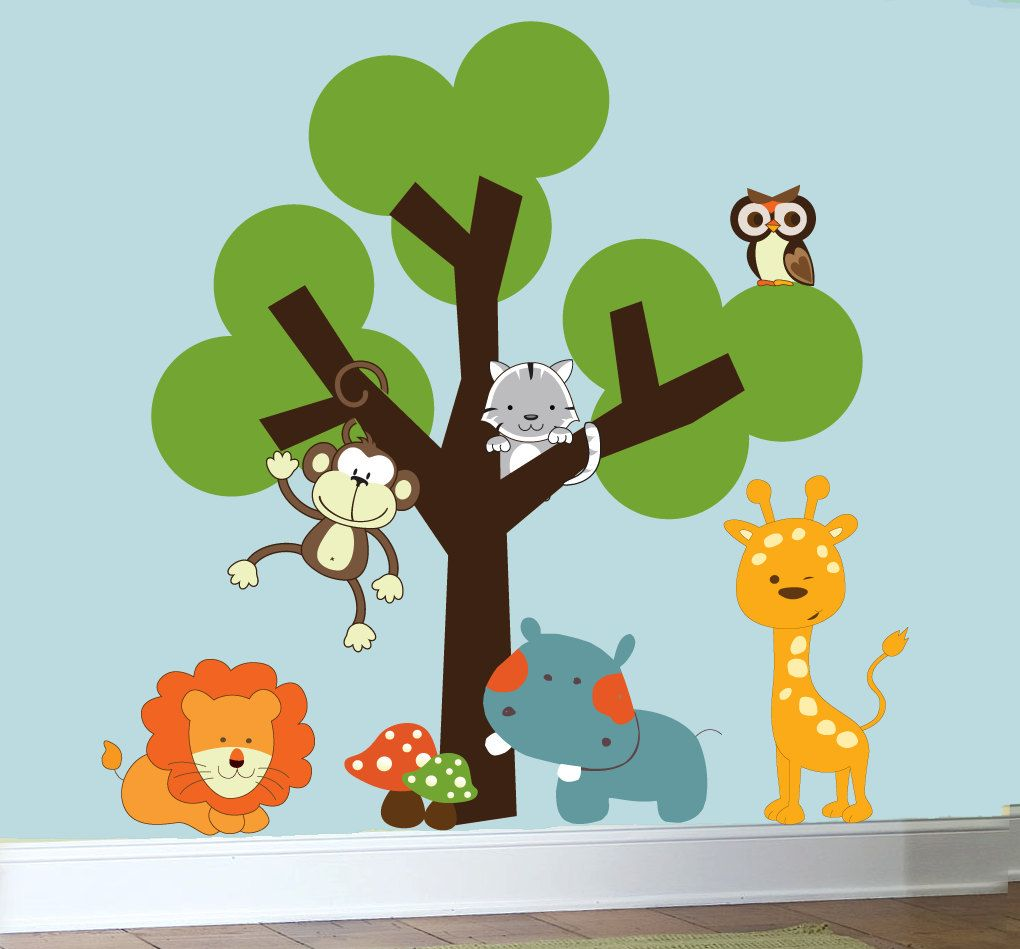 Childrens Nursery Decals Animal Jungle Wall Art Vinyl Wall Tree - Vinyl wall decals animals