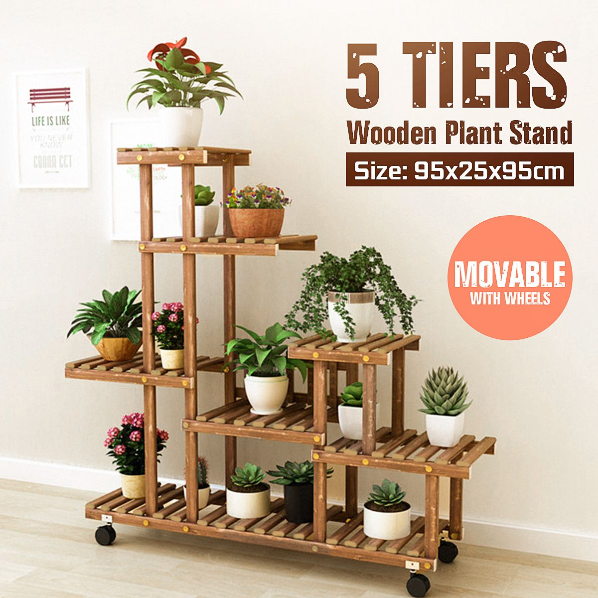 Wooden Flower Stands Rolling Flower Plant Display Shelf Storage