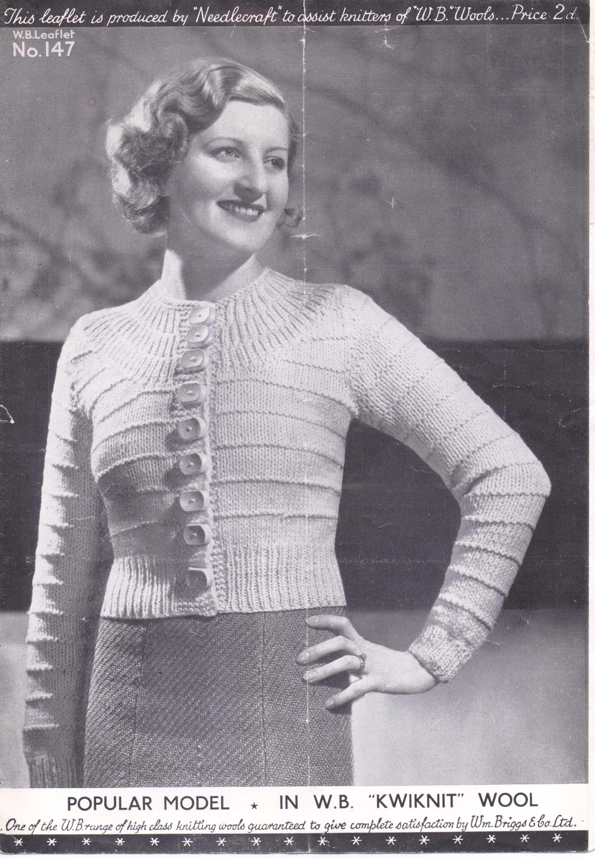 30s ladies yoke cardigan | motivos de crochet | Pinterest | Tejido