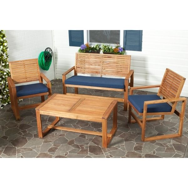 Safavieh Outdoor Living Ozark Brown Navy Acacia Wood Patio Set Ping S On Sofas Chairs Sectionals