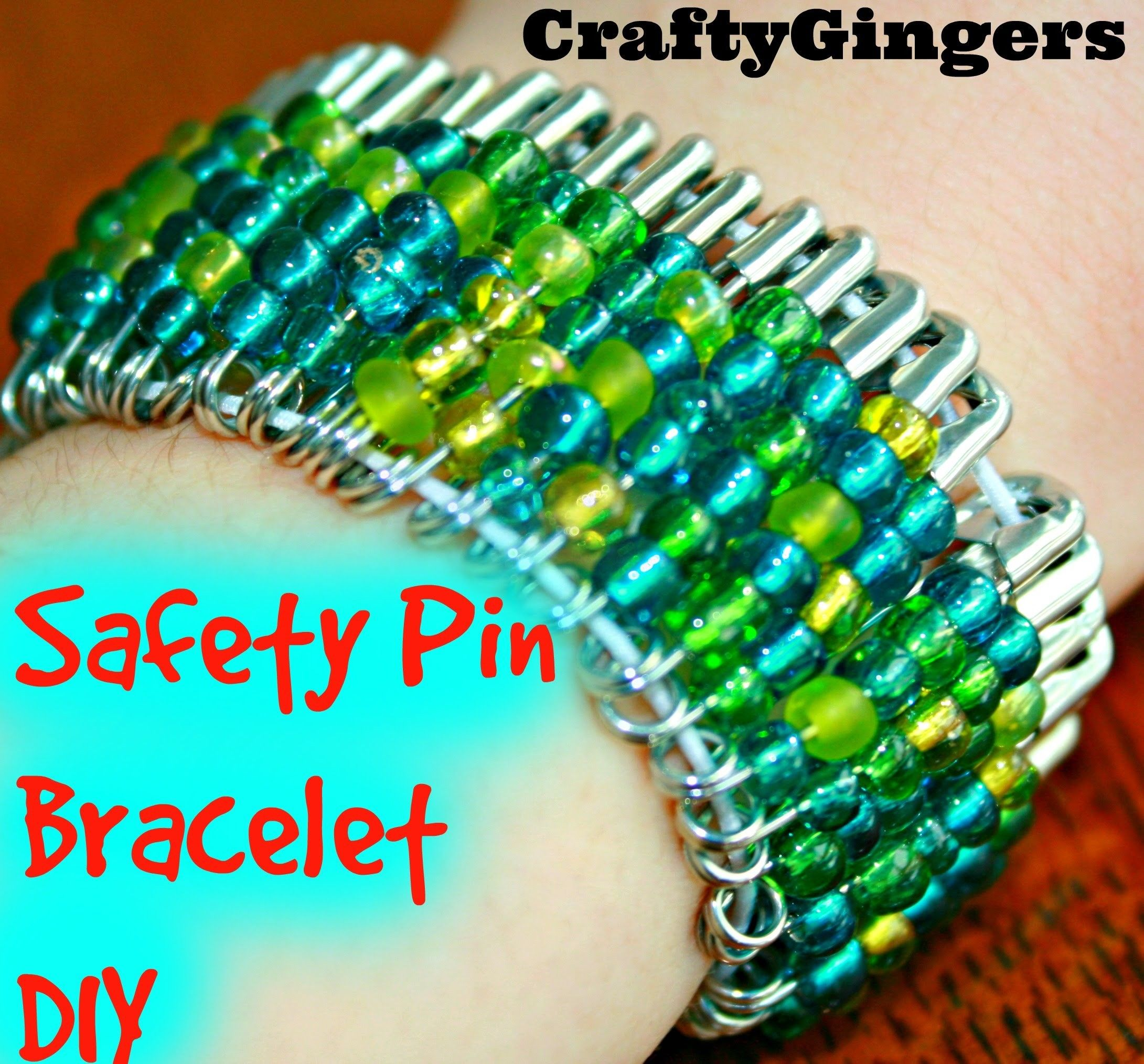 Beaded Safety Pin Bracelet DIY Safety pin bracelet