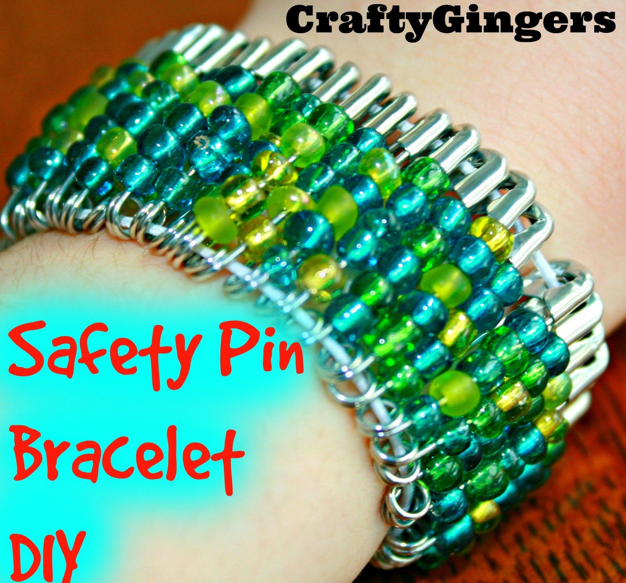 Beaded safety pin bracelet diy safety pin bracelet