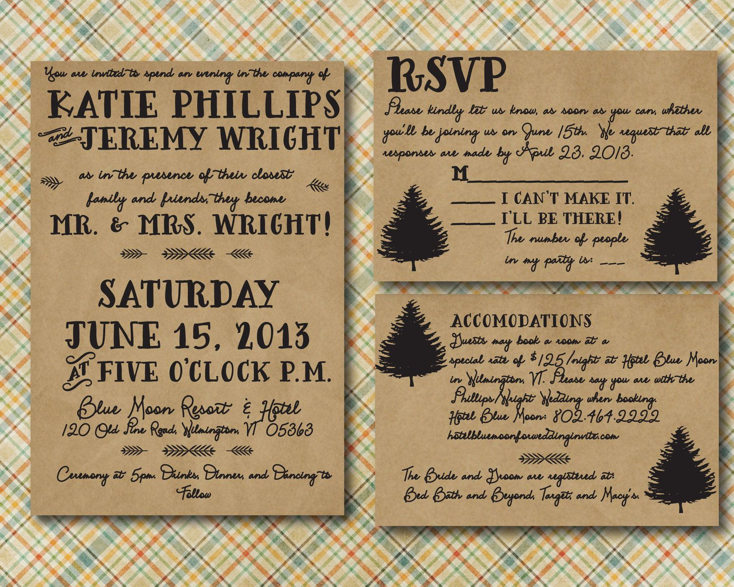 Rustic Wedding Invitation With RSVP Card