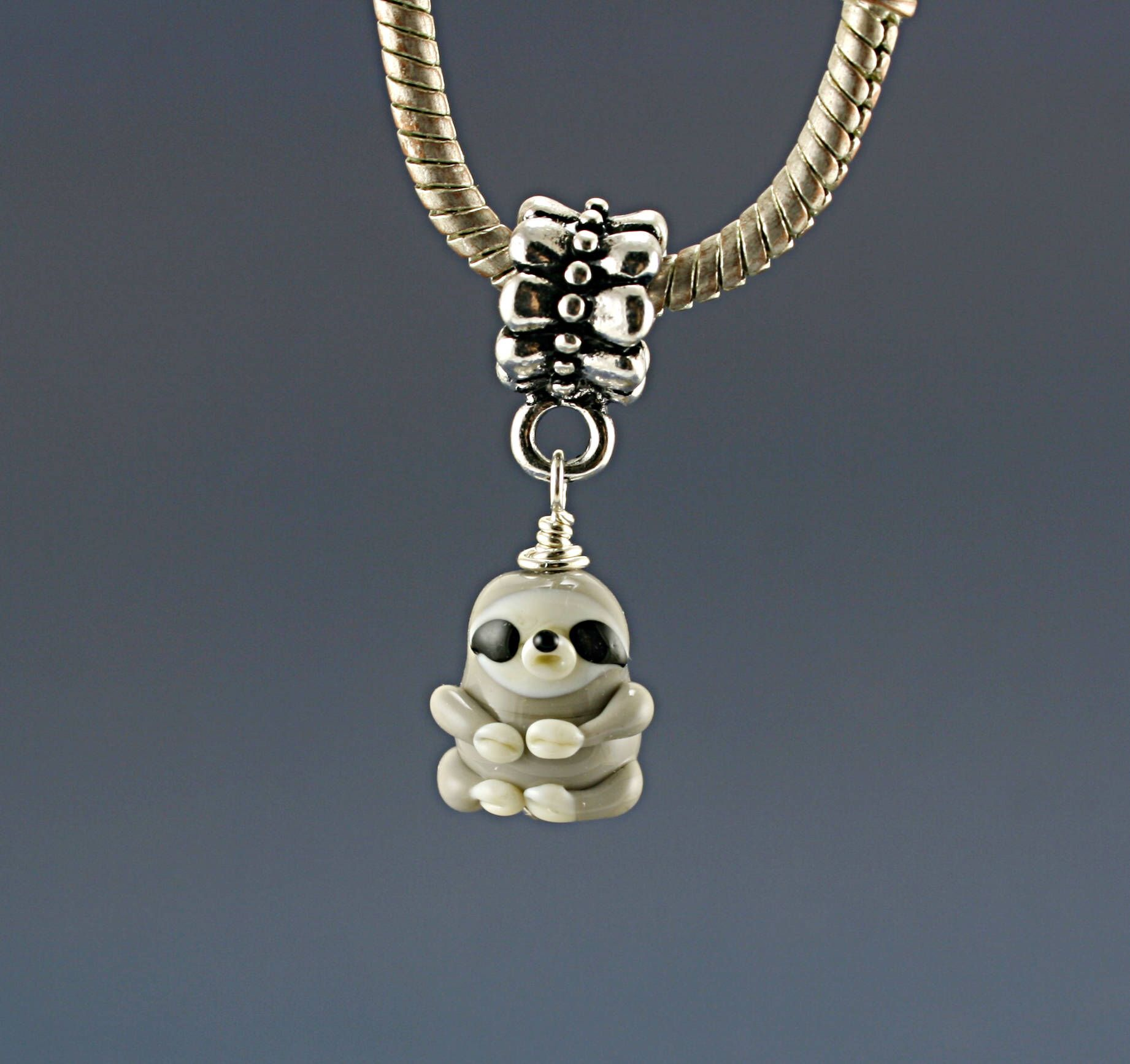 Sloth Charm Pendant Necklace Gift Gl Lampwork Hole Bead Or Bhb Charms Bracelet European Jewelry By Myhyhobby On Etsy