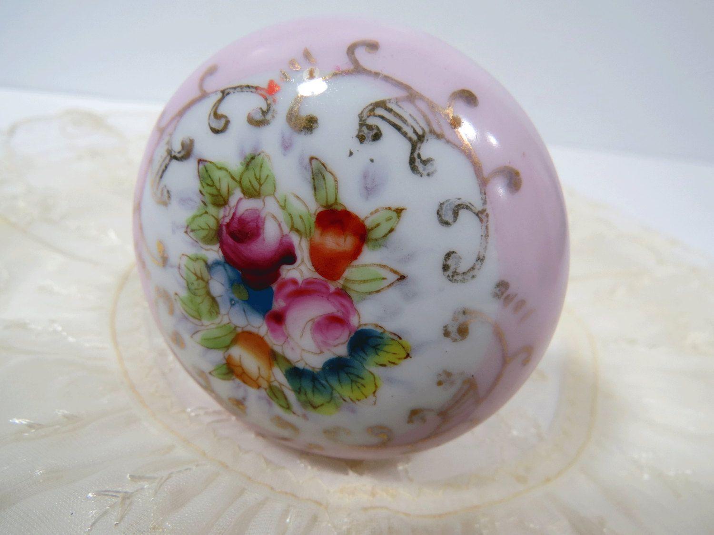 Pink Porcelain Door Knob Hand Painted Floral Design - Vintage ...