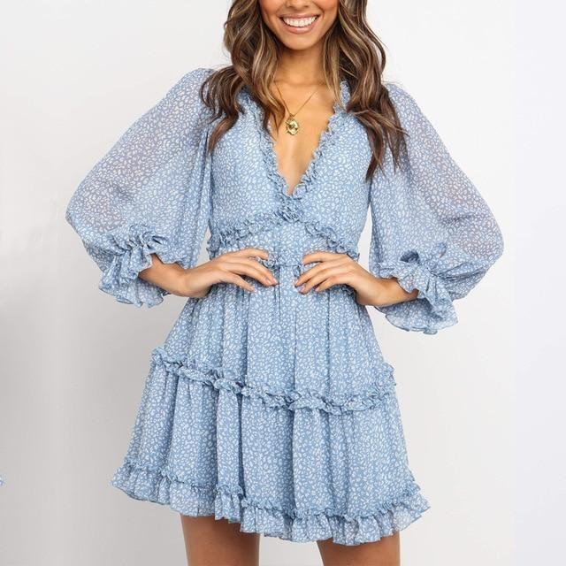 Women Print Ruffle Chiffon Short  Open Back Bohemian dress 11