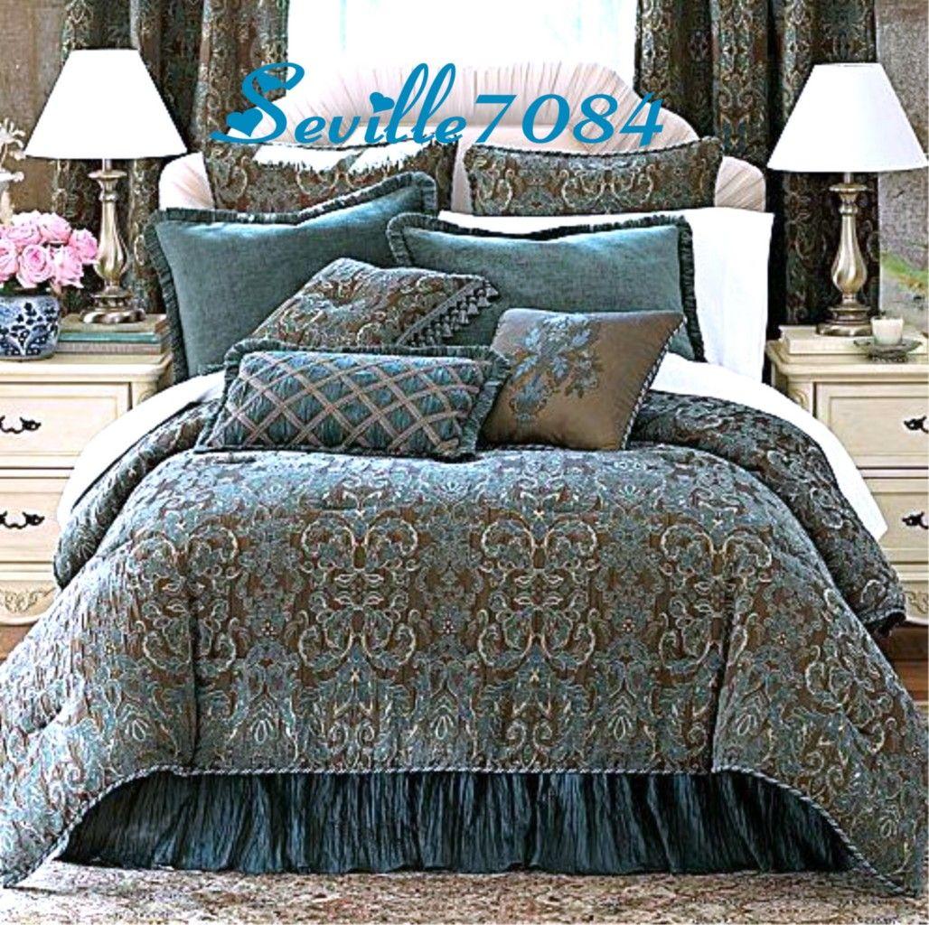 6P FULL Chris Madden AVONDALE Teal BlueBrown Comforter SetBonus