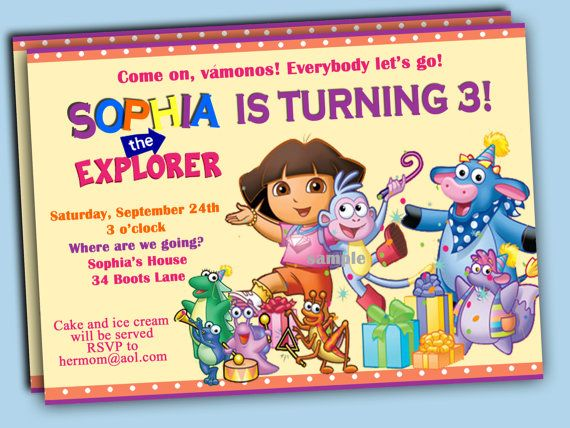 This listing is for an adorable, Dora personalized birthday party digital invitation. Set the tone for an adventure of a party with a perfect