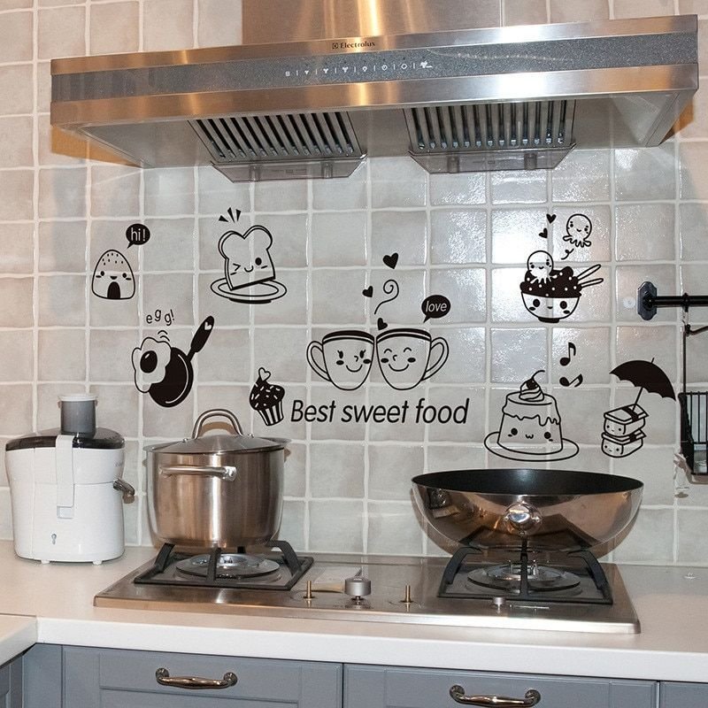 kitchen wall stickers pvc coffee sweet food diy wall art on wall stickers for kitchen id=85652