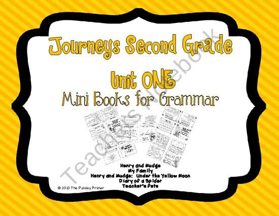 Journeys Grade Two Unit ONE Grammar Mini Books from The Paisley Primer on TeachersNotebook.com (5 pages)