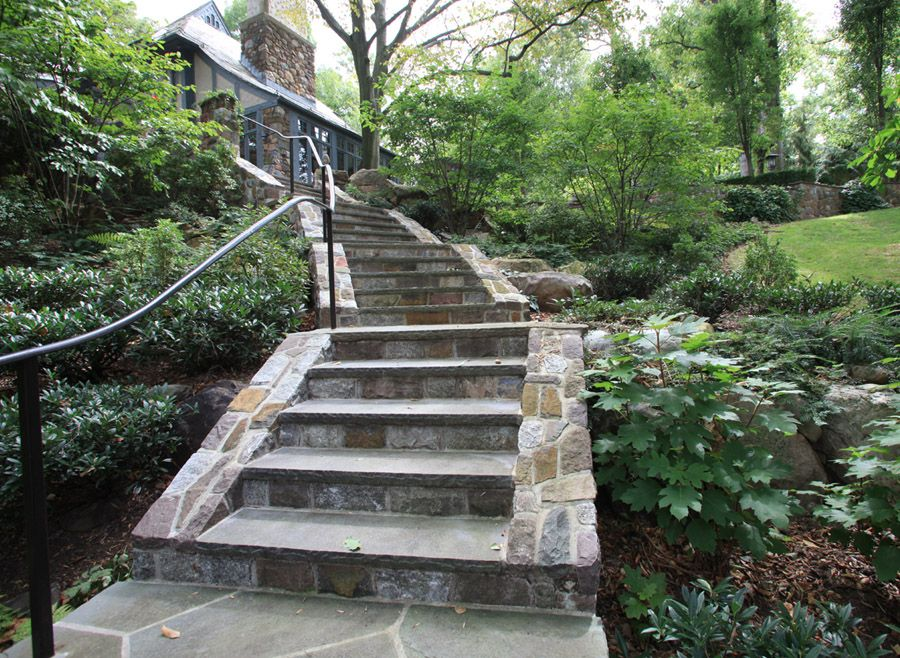 Beautiful Outdoor Staircase With Bluestone Treads In A Morris County NJ Home