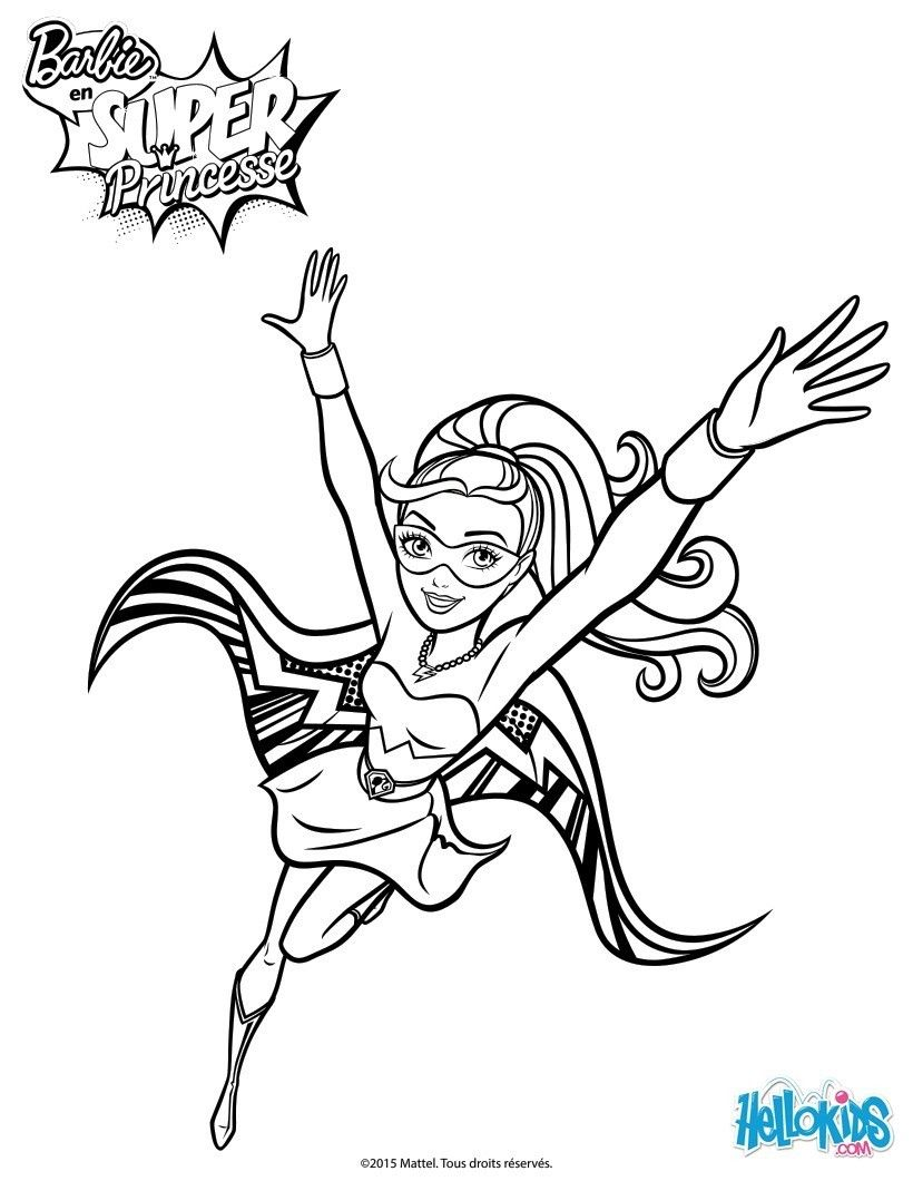 Un joli coloriage de barbie en super princesse entrain de - Barbie en princesse ...