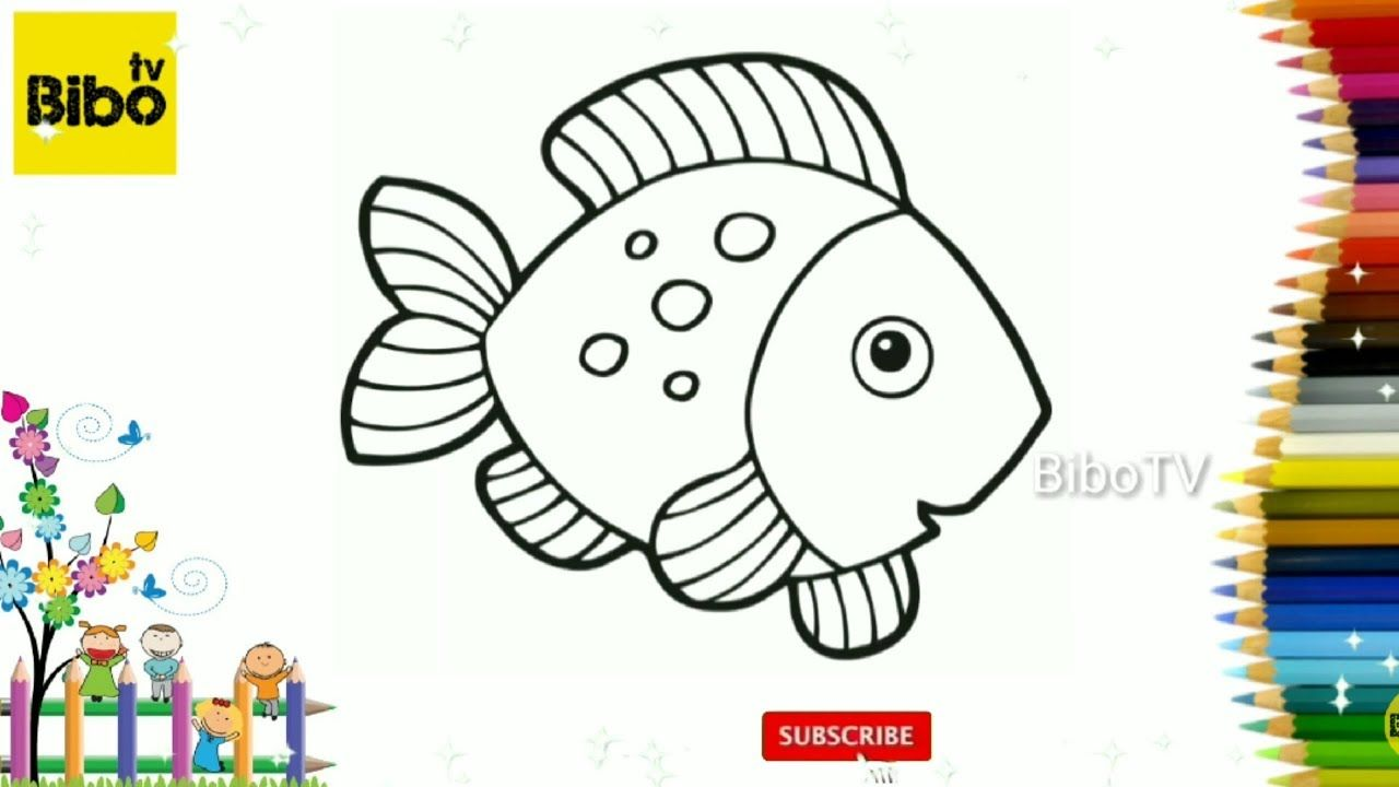 Glitter Fish Coloring And Drawing For Kids Toddlers 1 Learn Colors Animal Coloring Pages Fish Coloring Page Drawing For Kids