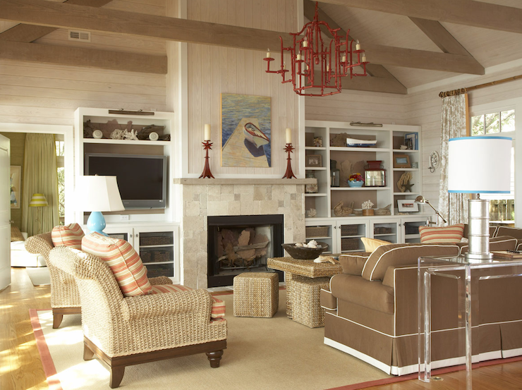 Amanda Nisbet Design Seaside Living Room With Vaulted Ceiling And Built Ins Flanking Fireplace