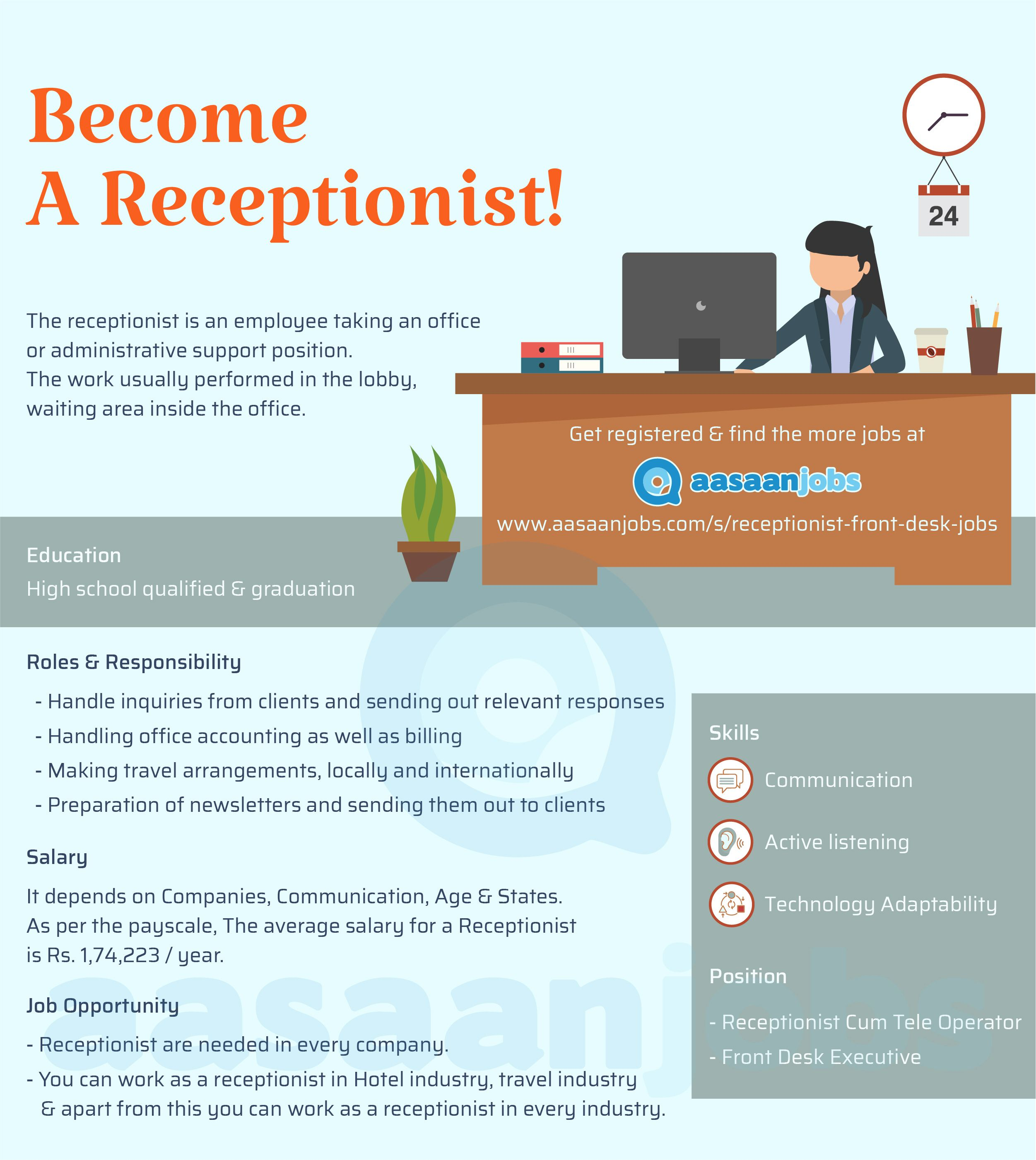 38 Receptionist Jobs July 2020 Receptionist Openings Aasaanjobs Receptionist Jobs Apply Job Job Hunting