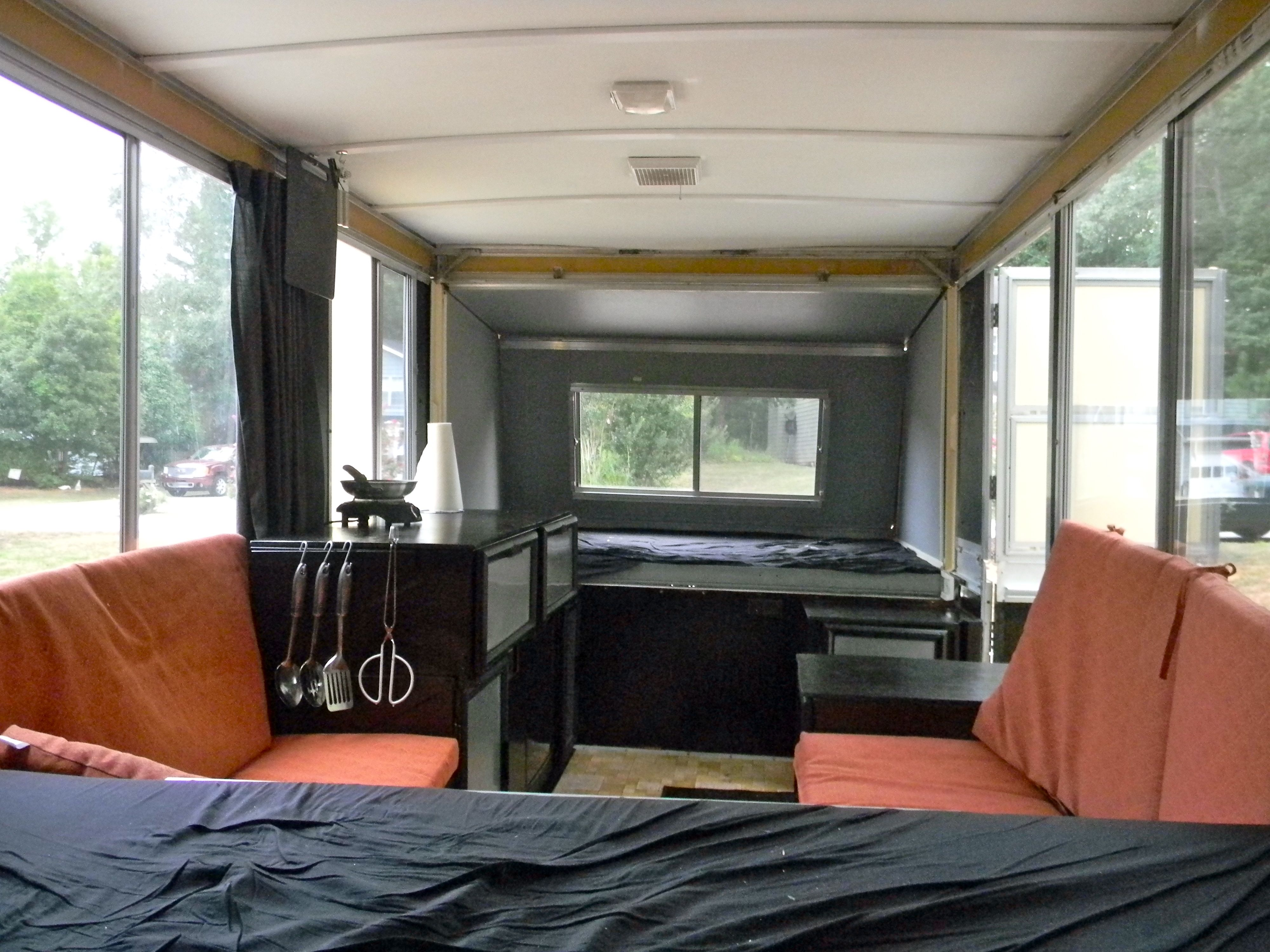 Length of apache camper ceiling walls and cabinets painted outdoor cushions added