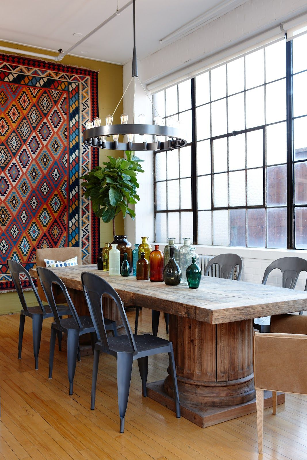 Amazing 39 Original Boho Chic Dining Room Designs : Boho Chic Dining Room  Designs With White Brown Wall Big Window Wooden Dining Table Chair Bar  Stool ...