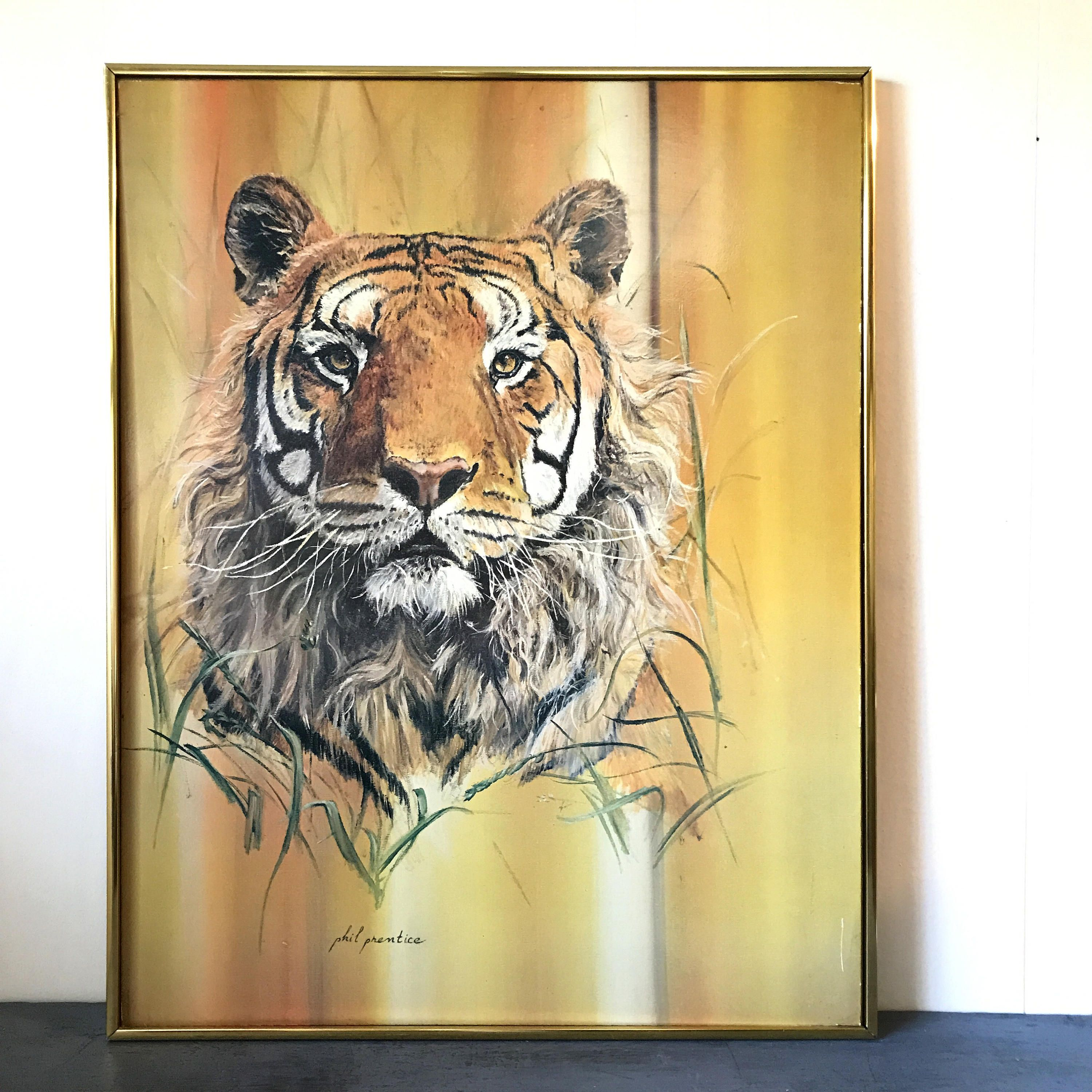 vintage framed lithograph - Tiger Phil Prentice - wildlife safari ...