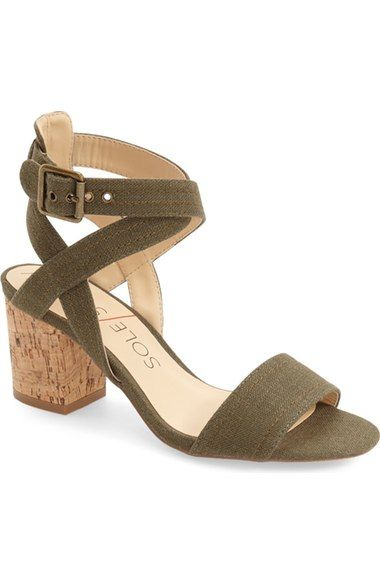 5b36e738941 This olive green cork-detailed block heel is a trend-right sandal style.