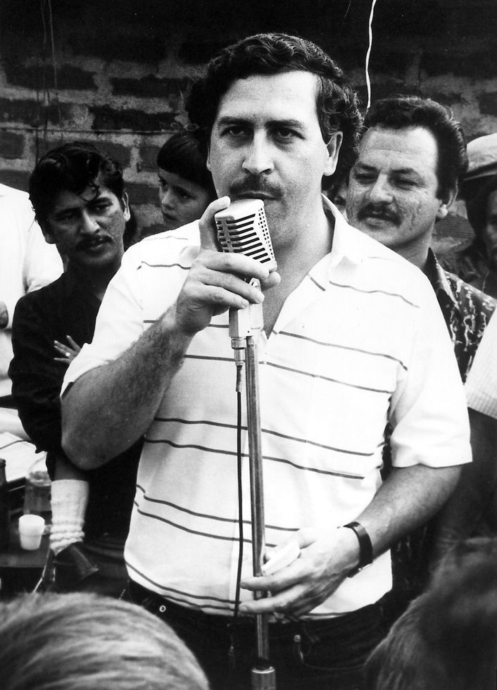 Pablo Escobar (1 Dec 1949 - 2 Dec 1993) was a Colombian drug lord, who at the height of his career, his cartel supplied 80% of the cocaine in the U.S. He was the wealthiest criminal in history, with an estimated networth of US$100 Billion including money he had hidden around Colombia (making him the 7th richest man). As a member of the Medellín Cartel, he became notorious for his cutthroat business style, as well as cultivated a Robin Hood image making him popular among the poor in Colombia.