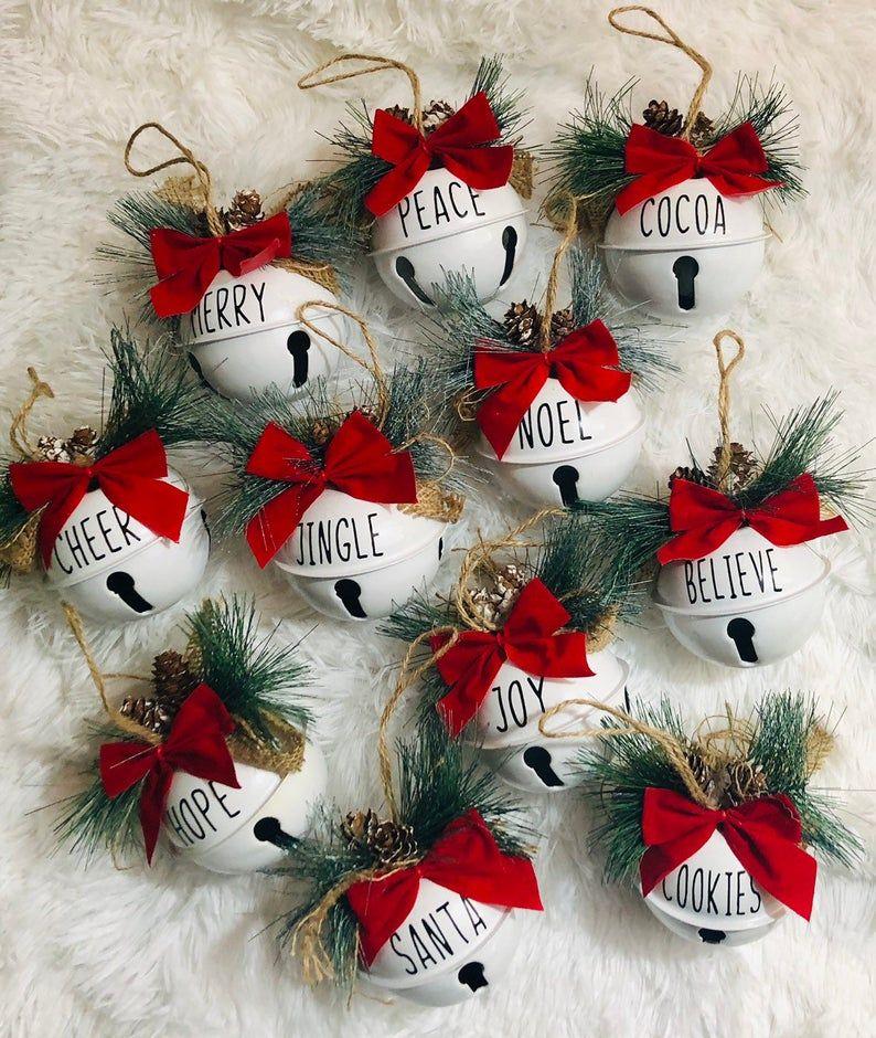 Jingle Bell Sleigh Bell Joy Peace Santa Christmas Ornament