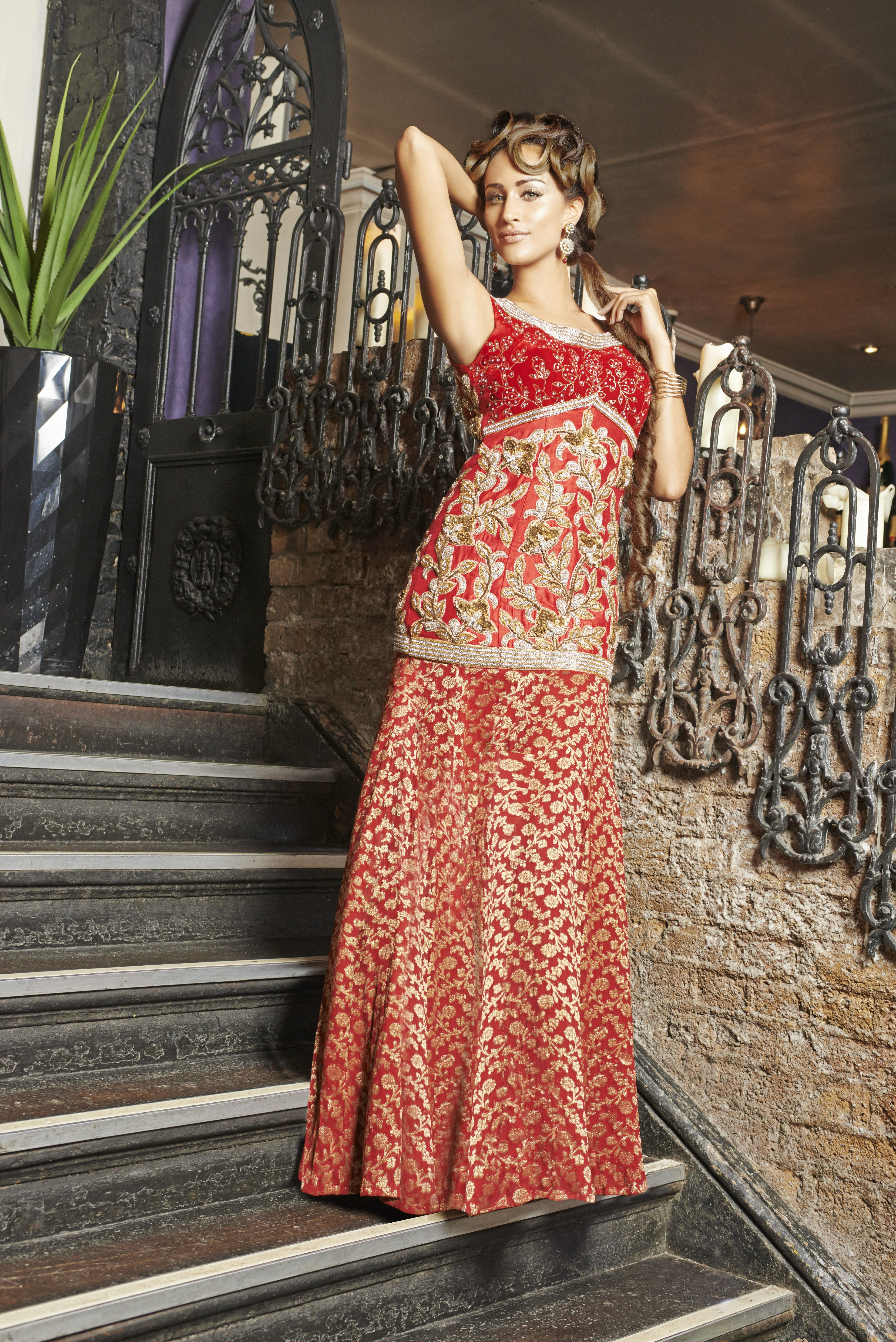 Wf maroon brocade silk and velvet evening reception gown with