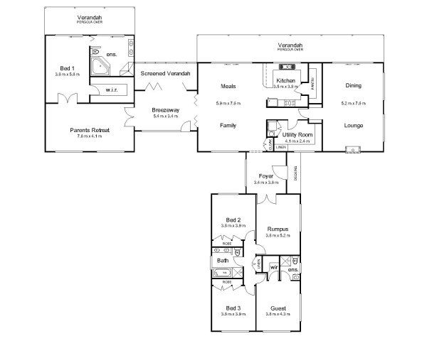 Hawkesbury valley homes country pavilion floor plan for House plans with breezeway to guest house