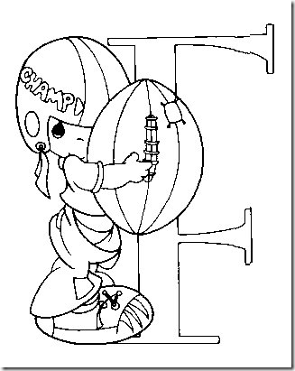 A for angel - Precious Moments Alphabet Coloring Pages | Crafts ... | 411x327