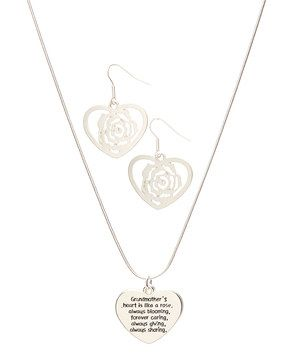 Love this Silver 'Grandmother's Heart' Pendant Necklace & Earrings by Trisha Waldron on #zulily! #zulilyfinds