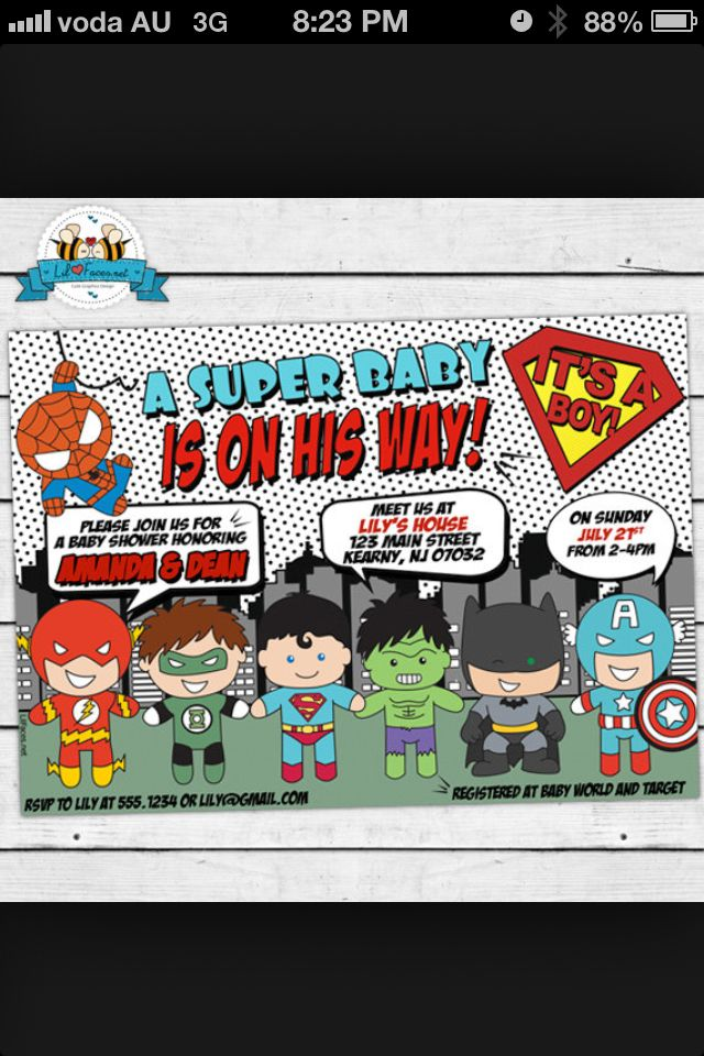 Superhero baby shower invite | Boy baby shower | Pinterest ...
