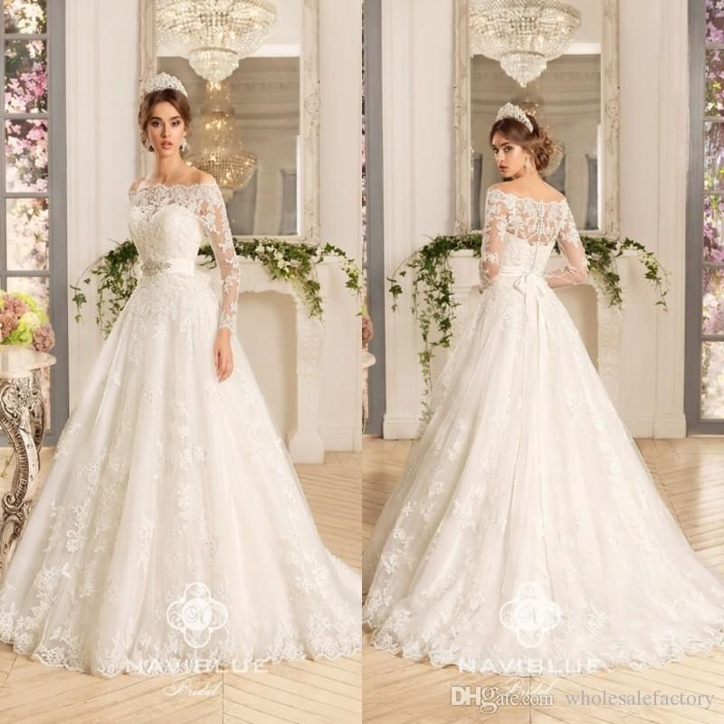 Discount 2016 New Arrival Wedding Dresses Illusion 3/4 Long Sleeve ...