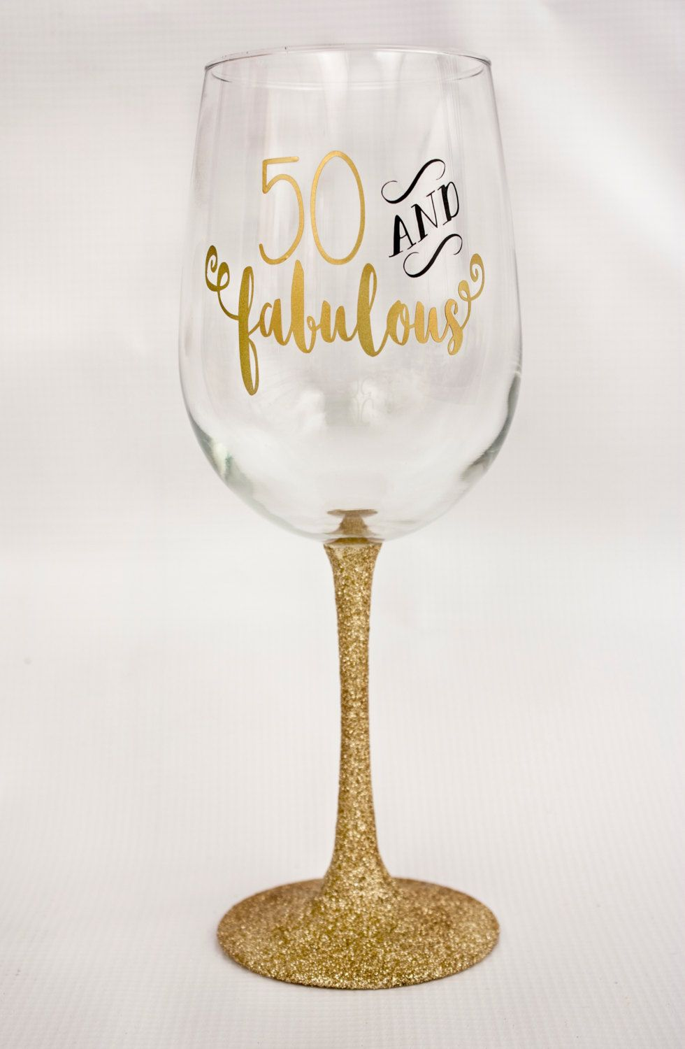 50 And Fabulous Glitter Dipped Wine Glass Birthday Gift