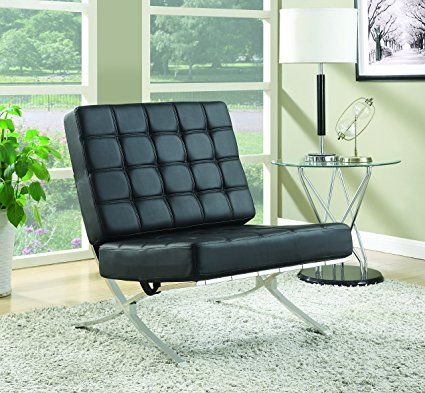 Coaster Home Furnishings Modern Contemporary Barcelona Style Biscuit Tufted Lounge Accent Chair Black Faux Leather Chrome Somethingbynikki Is A