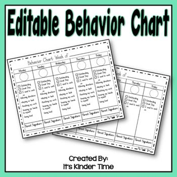 Behavior Charts This is an editable and printable behavior chart - printable behavior chart