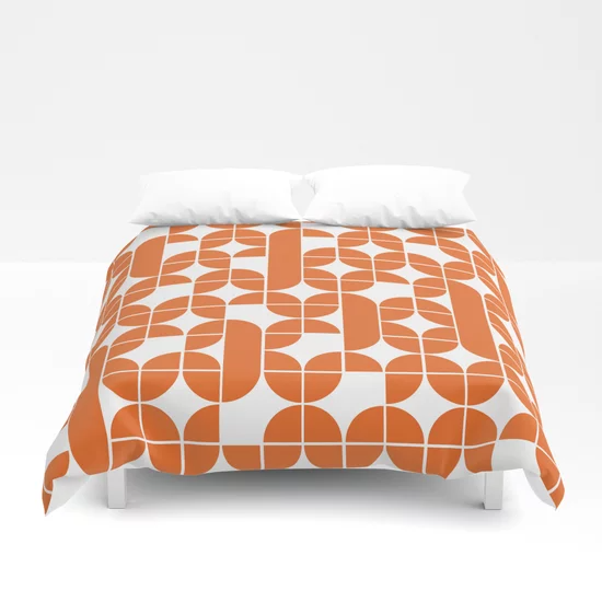 Mid Century Modern Geometric Pattern Orange Duvet Cover By Mahesartshop Society6 Orange Duvet Covers Orange Comforter Duvet Covers