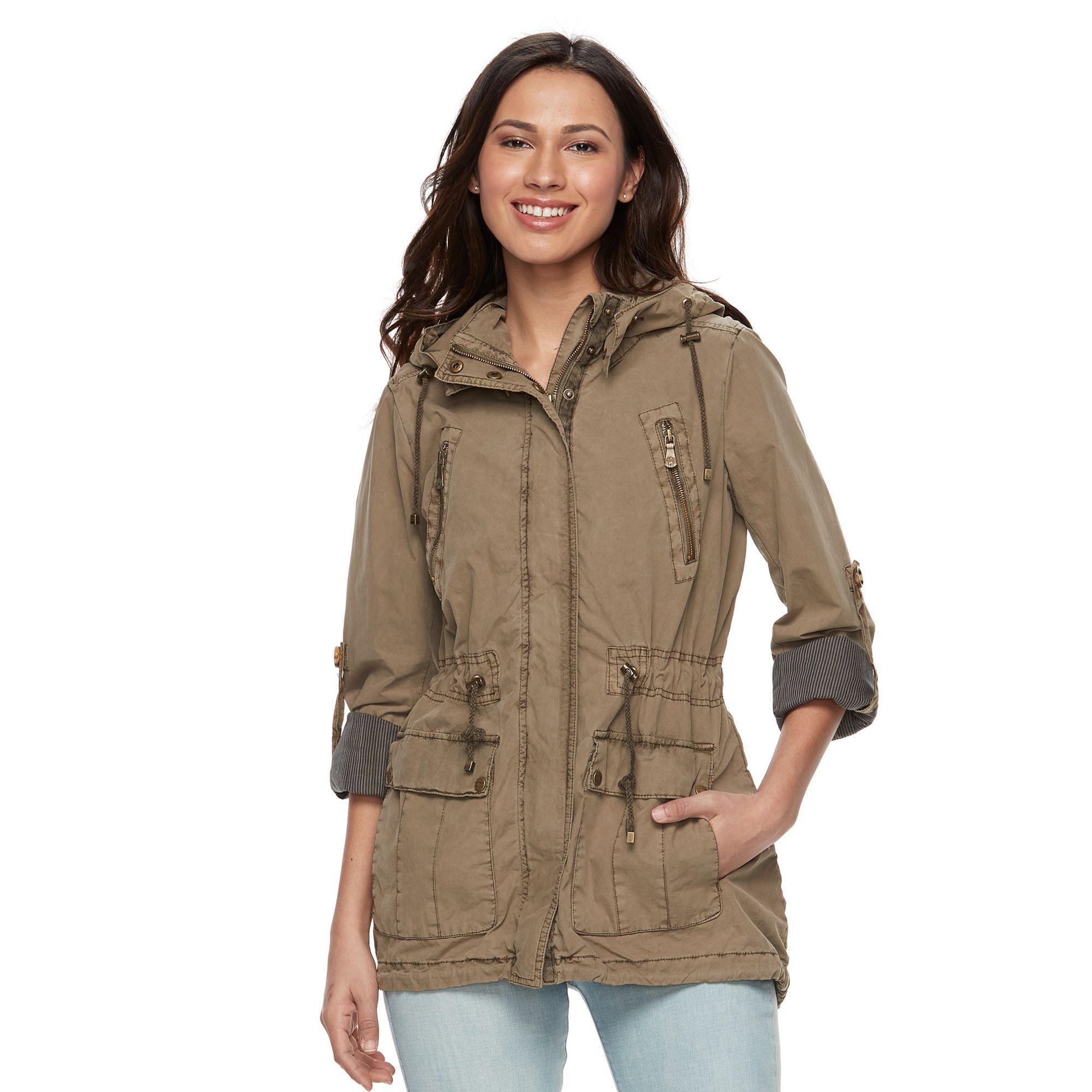 Women's Levi's Hooded Roll-Tab Anorak Jacket, Size: Medium, Blue (Navy)