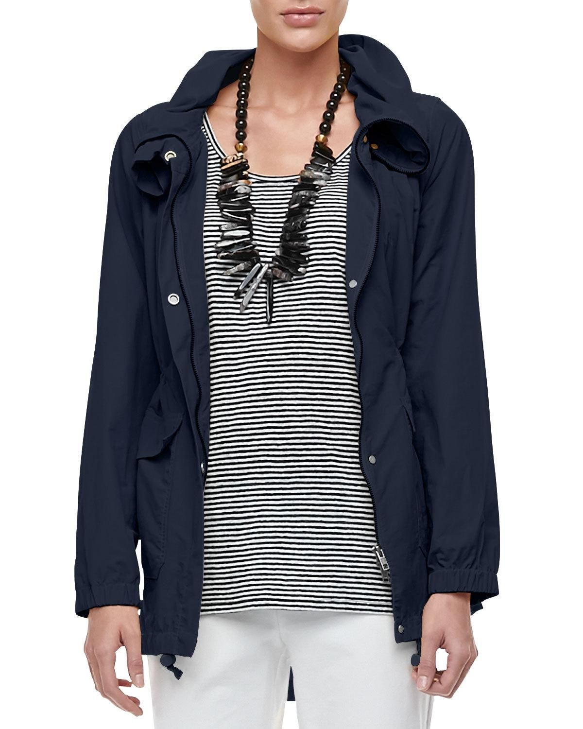 Eileen Fisher High-Collar Weather-Resistant Utility Jacket, Plus Size and Matching Items #travelwardrobesummer