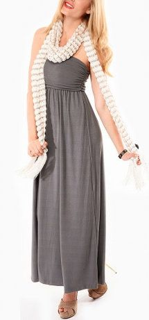 Gray Ruched Strapless Maxi Dress