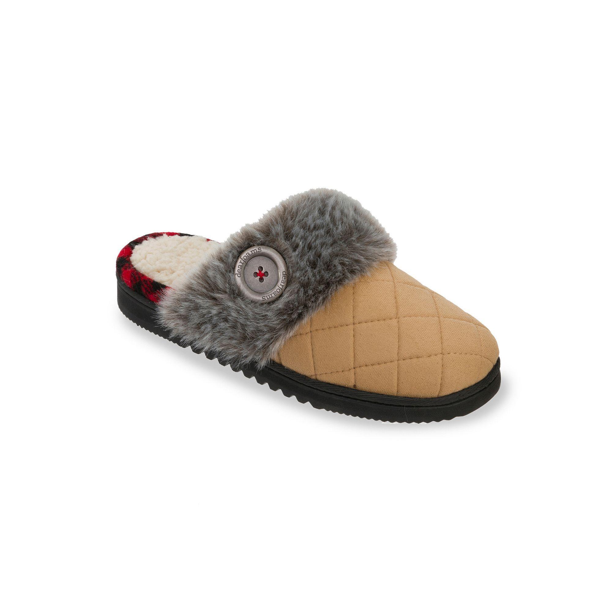 Dearfoams Women's Chalet Quilted Scuff Memory Foam Clog Slippers, Size:  Medium, Beige Oth