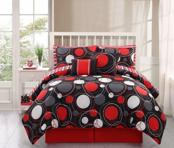 Red Black White Twin Comforter Home