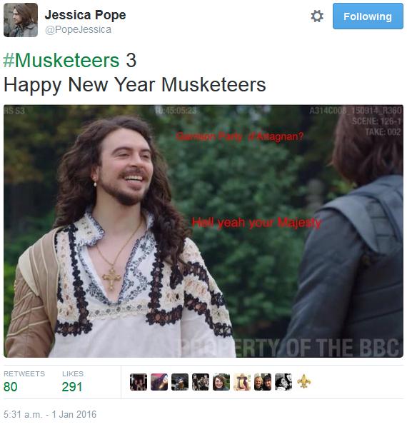The Musketeers - Series III BtS filming via Jessica Pope's Twitter (King Louis XIII)