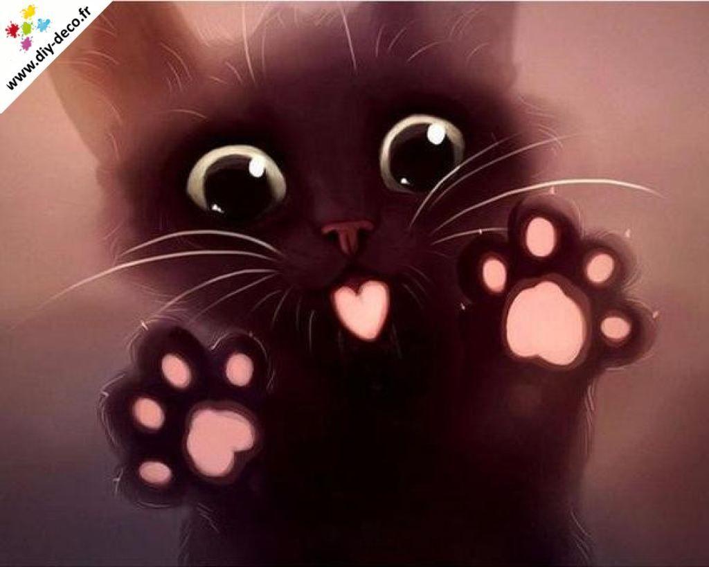 Broderie Diamant Chaton Noir Love Illustration De Chat Dessin Chaton Dessin Animaux Mignons