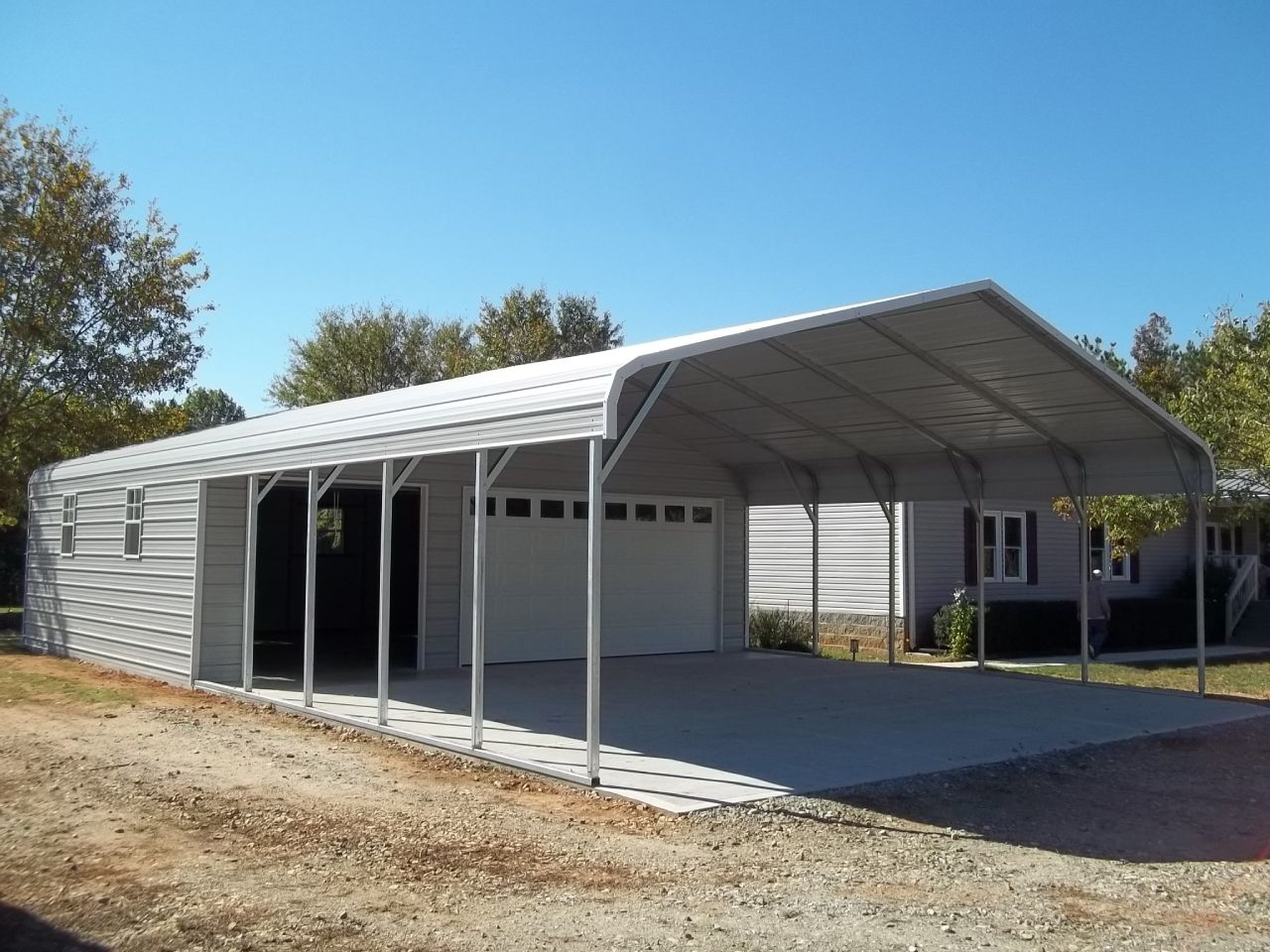 Pull up garage with door and carport unit Carport sheds